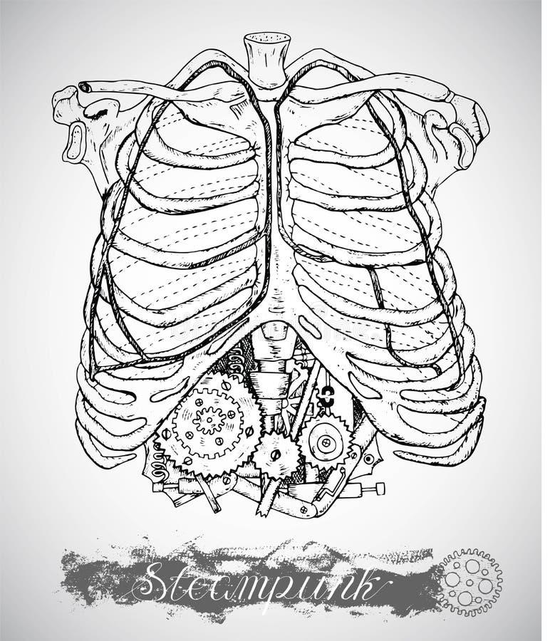 Mänsklig anatomibröstkorg med tappningmekanismen i stöd i ångapunkrockstil royaltyfri illustrationer