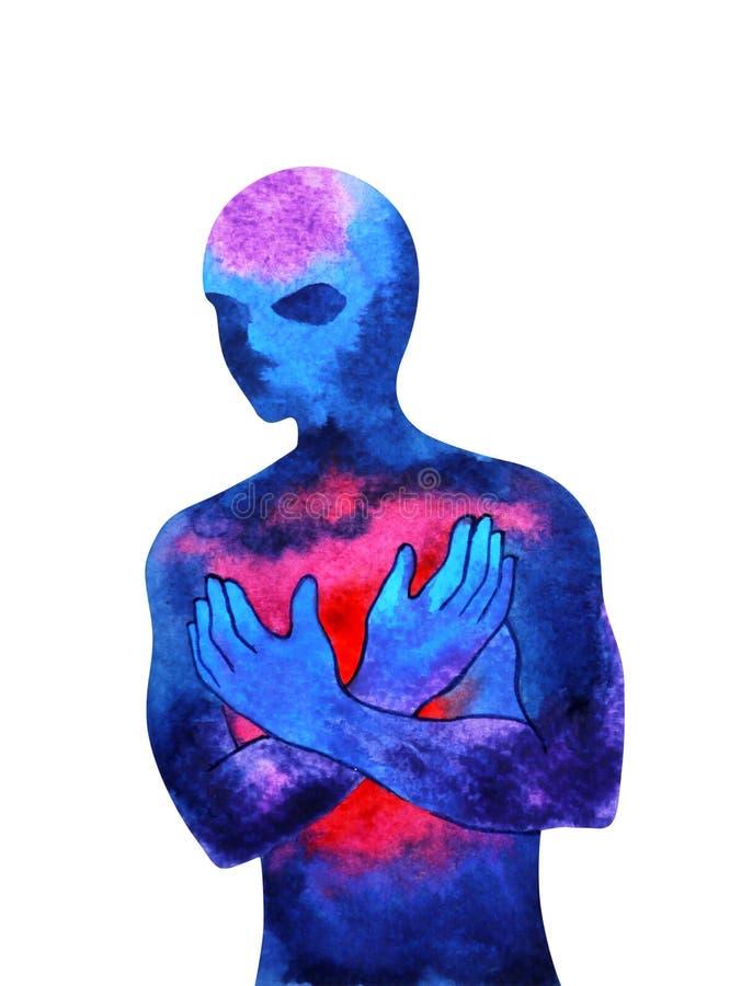 Mänsklig andlig teckning för hand för design för illustration för målning för vattenfärg för abstrakt konst för mening för makten stock illustrationer