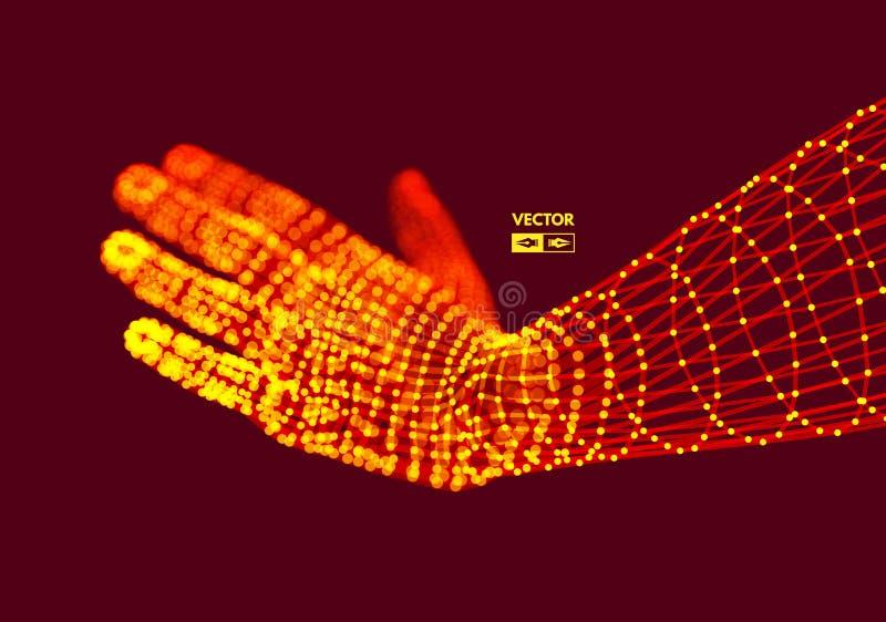 Mänsklig arm Handmodell Anslutningsstruktur Framtida teknologibegrepp stock illustrationer