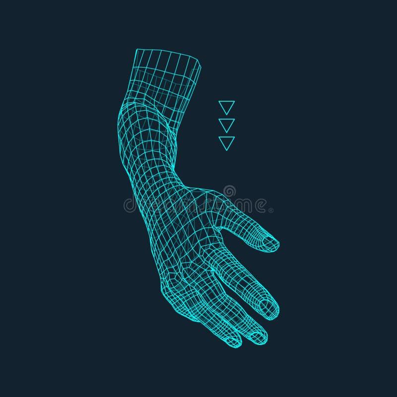 Mänsklig arm Mänsklig handmodell Handscanning Sikt av den mänskliga handen geometrisk design 3d hud för beläggning 3d Polygonal d royaltyfri illustrationer