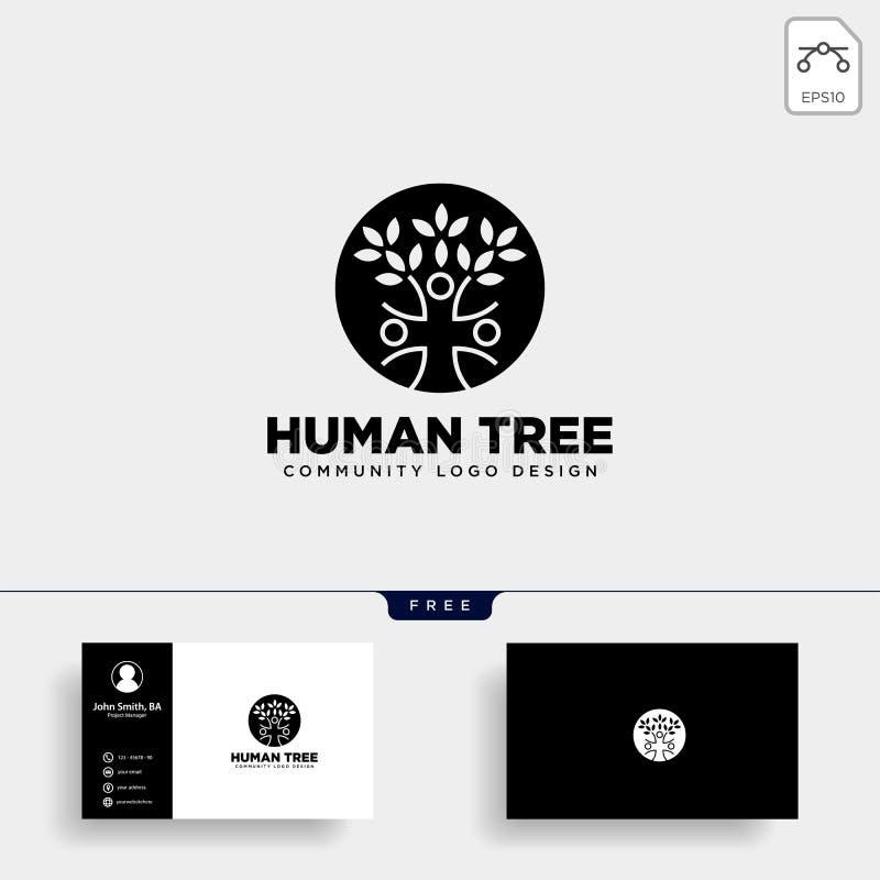 mänsklig beståndsdel för symbol för illustration för mall för logo för trädbladgemenskap royaltyfri illustrationer