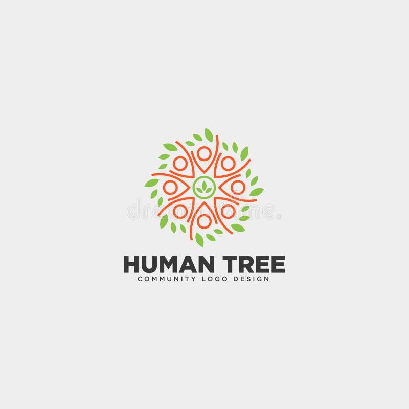mänsklig beståndsdel för symbol för illustration för mall för logo för trädbladgemenskap vektor illustrationer