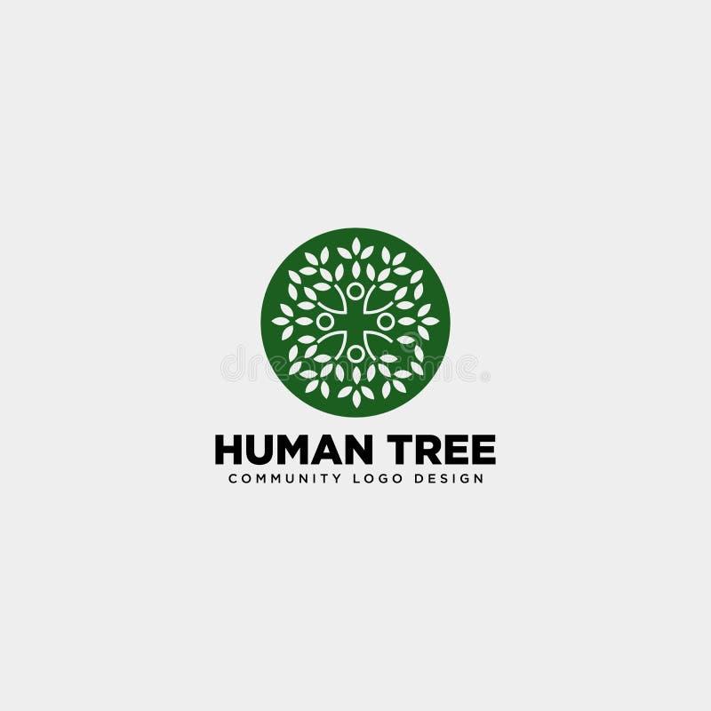 mänsklig beståndsdel för symbol för illustration för mall för logo för trädbladgemenskap stock illustrationer