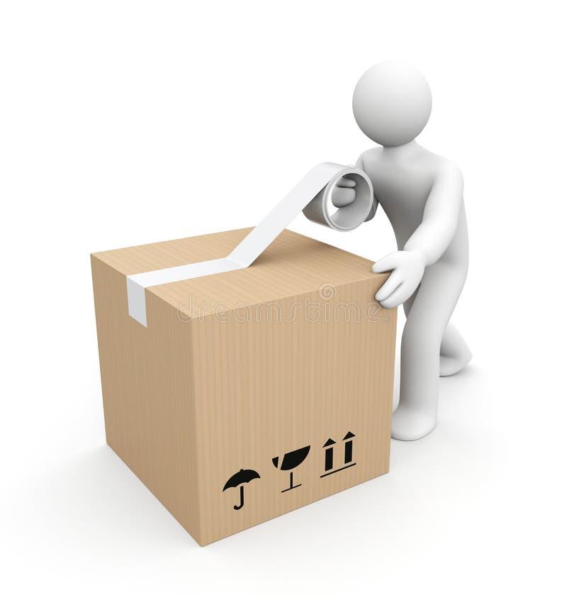 Mänsklig emballageask stock illustrationer