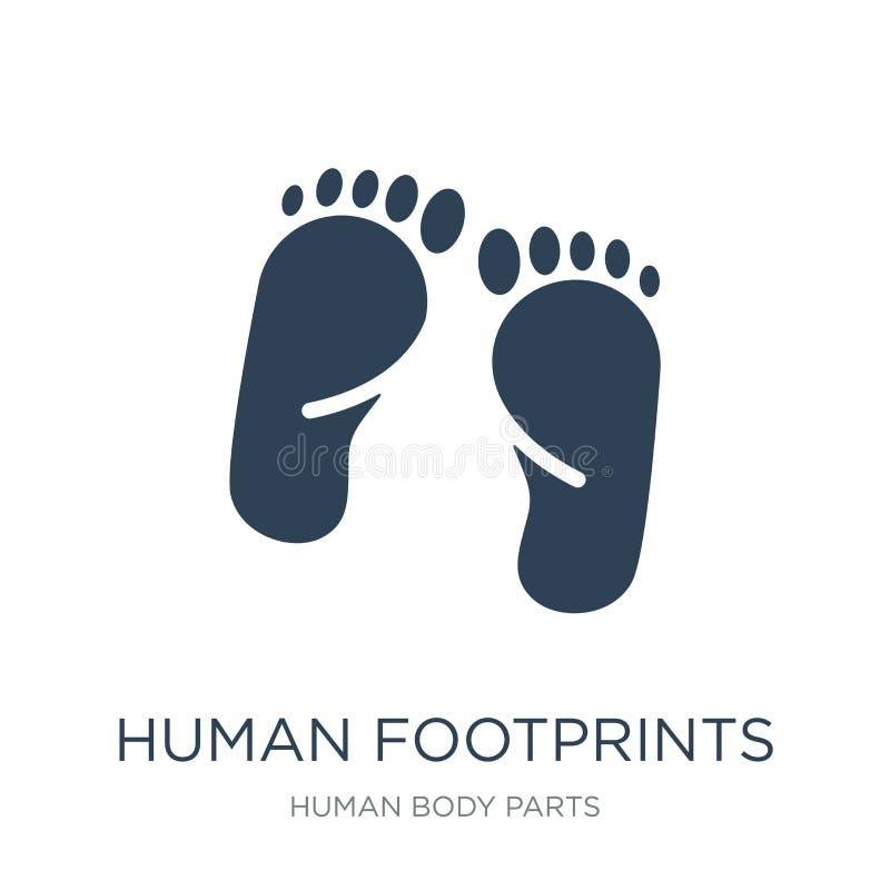 mänsklig fotspårsymbol i moderiktig designstil Mänsklig fotspårsymbol som isoleras på vit bakgrund mänsklig fotspårvektorsymbol royaltyfri illustrationer