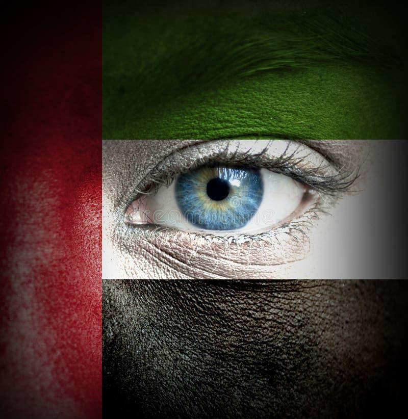 Mänsklig framsida som målas med flaggan av Förenade Arabemiraten royaltyfri fotografi