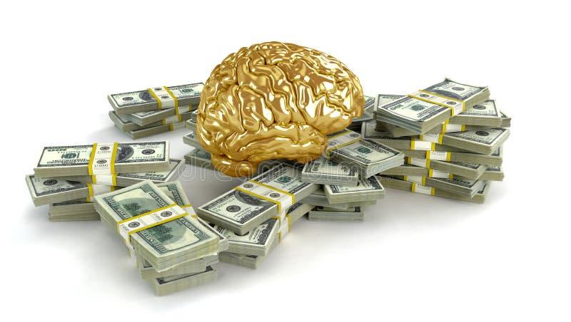 Mänsklig guld- hjärna stora buntar av dollar vektor illustrationer