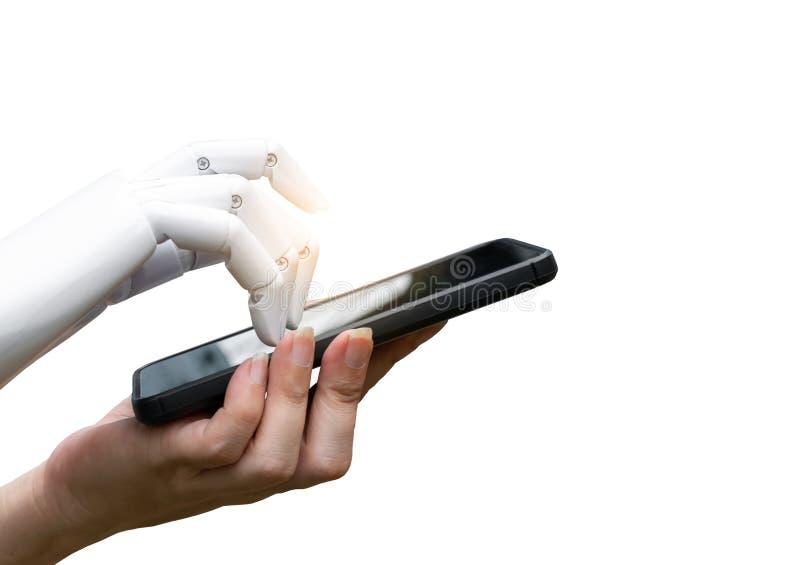 Mänsklig hand för Robotic övergång för konstgjord intelligens till robothandpress smartphoneknappen arkivfoton