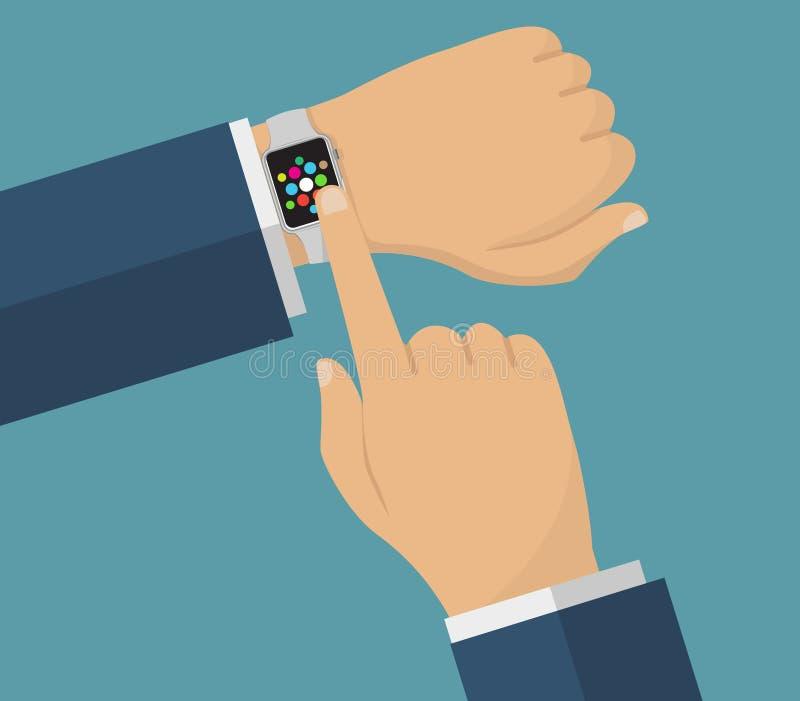 Mänsklig hand med smarta klockor Operation med smarta klockor royaltyfri illustrationer