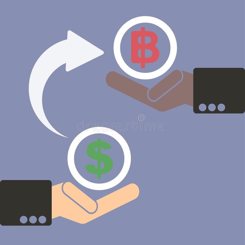 Mänsklig hand med valutasymboler för begrepp för marknads- och materielpengarutbyte stock illustrationer