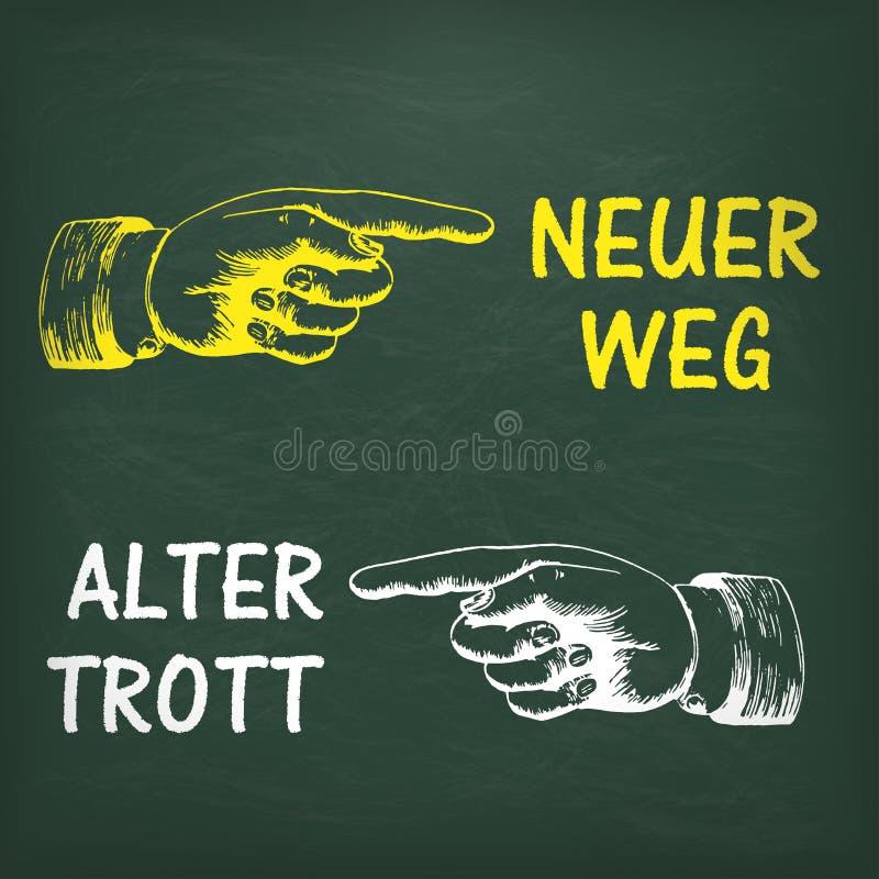Mänsklig hand Neuer Weg för svart tavla stock illustrationer