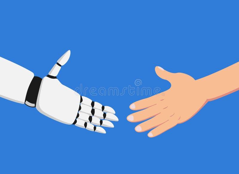 Mänsklig hand och robot omkring som gör en handskakning stock illustrationer