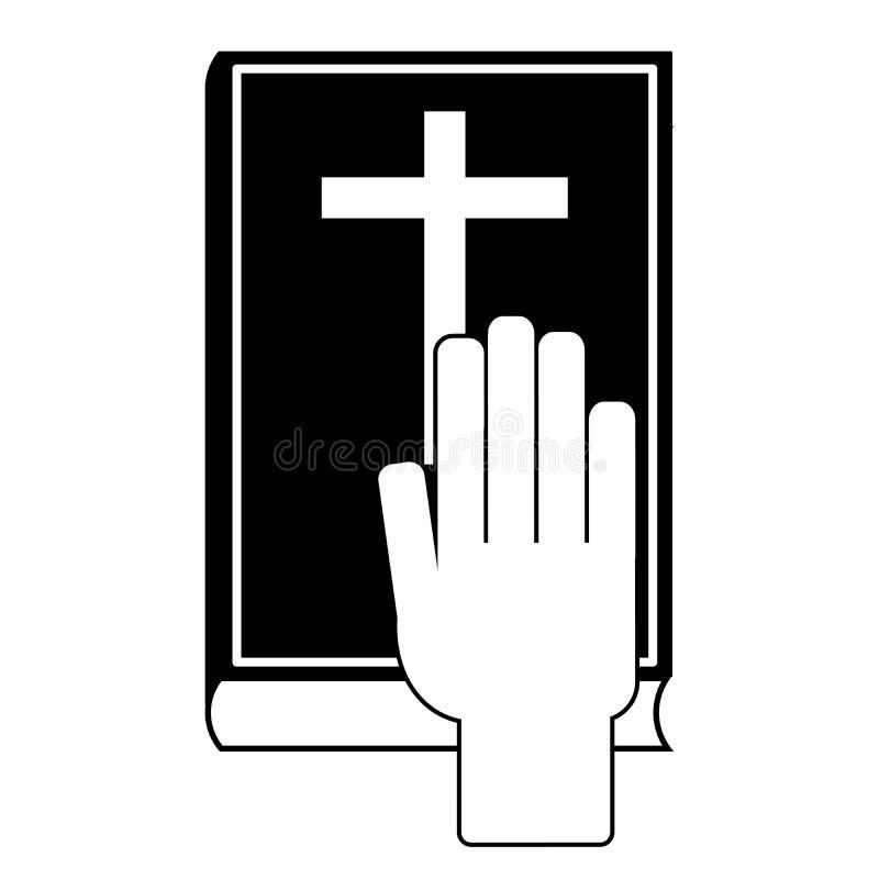 Mänsklig hand på bibeln royaltyfri illustrationer
