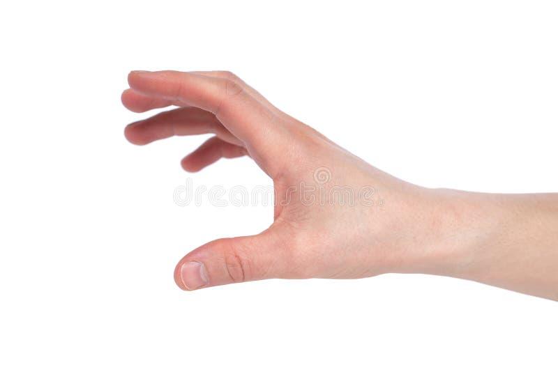 Mänsklig hand som når för något på vit bakgrund arkivbilder
