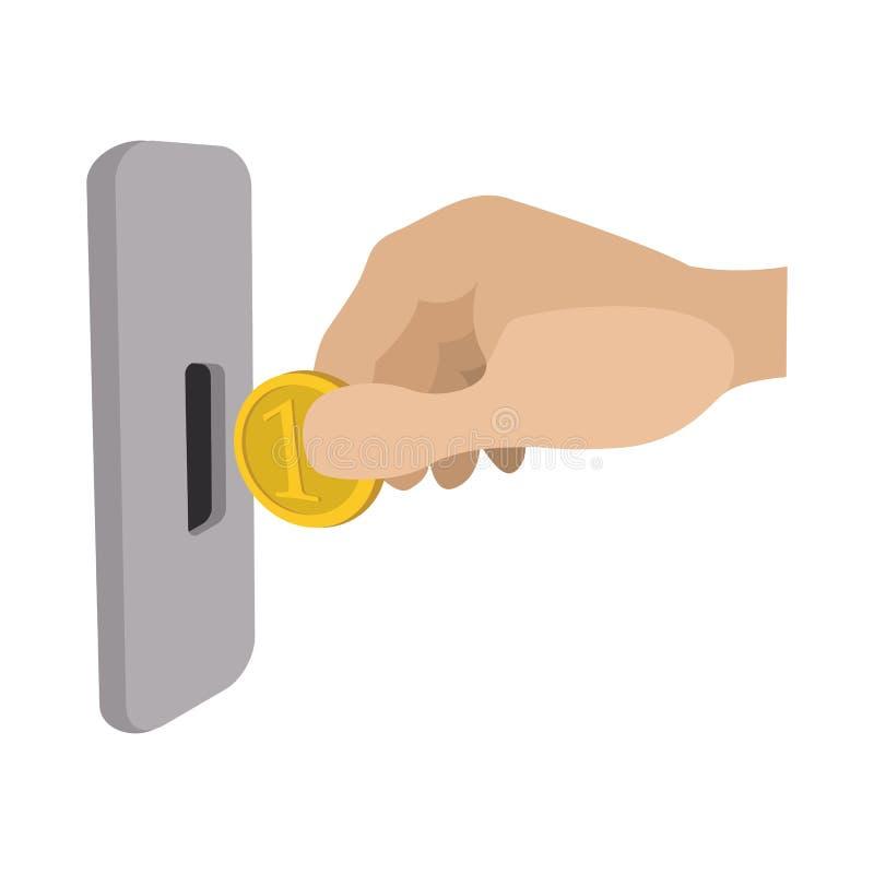Mänsklig hand som sätter in myntet i enarmad banditsymbol vektor illustrationer