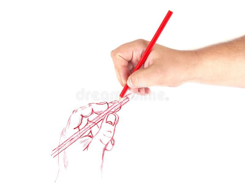 Mänsklig hand som tecknar en blyertspennabild arkivbilder