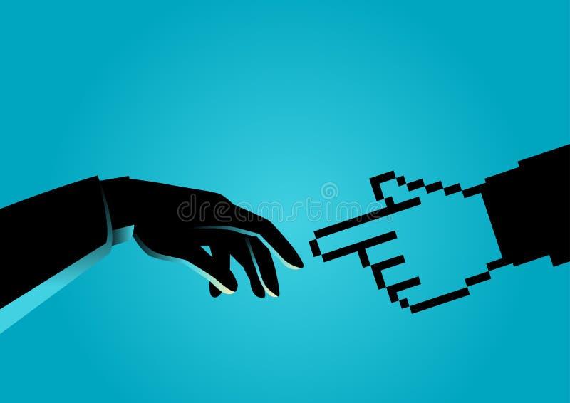 Mänsklig hand som trycker på den pixelated handen vektor illustrationer