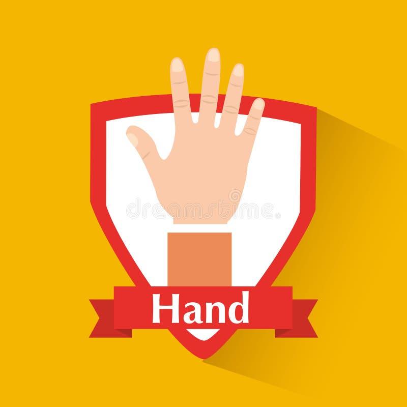 Mänsklig hand som visar emblemet för fem fingrar stock illustrationer