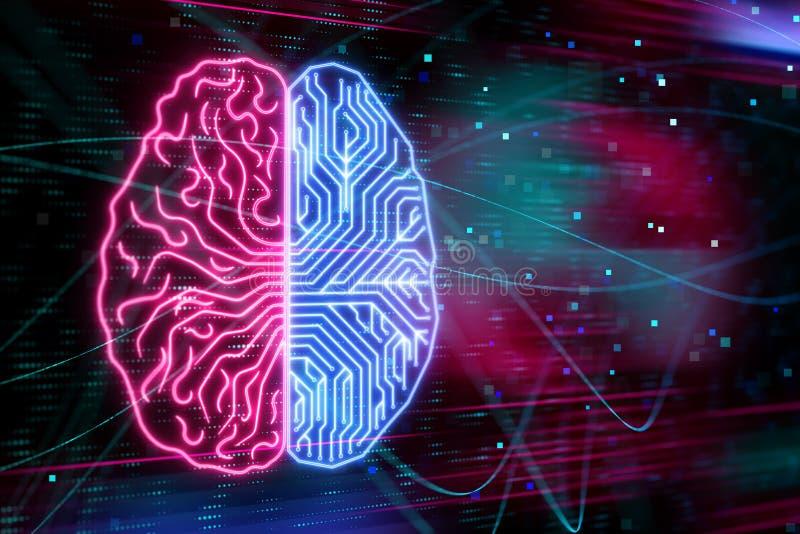 Mänsklig hjärna ai royaltyfri illustrationer