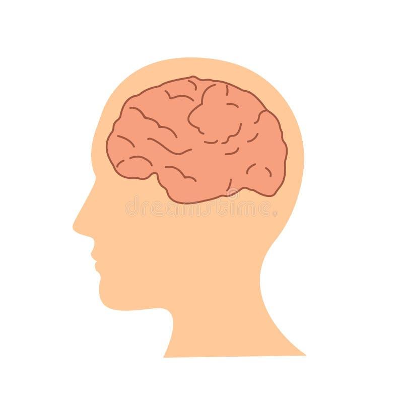 Mänsklig hjärna för plan design i den head symbolsvektorillustrationen stock illustrationer