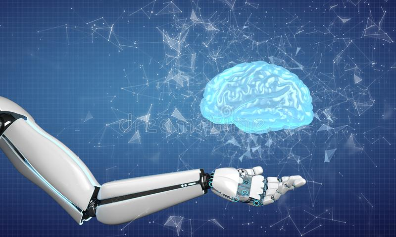Mänsklig hjärna för robothand royaltyfria bilder