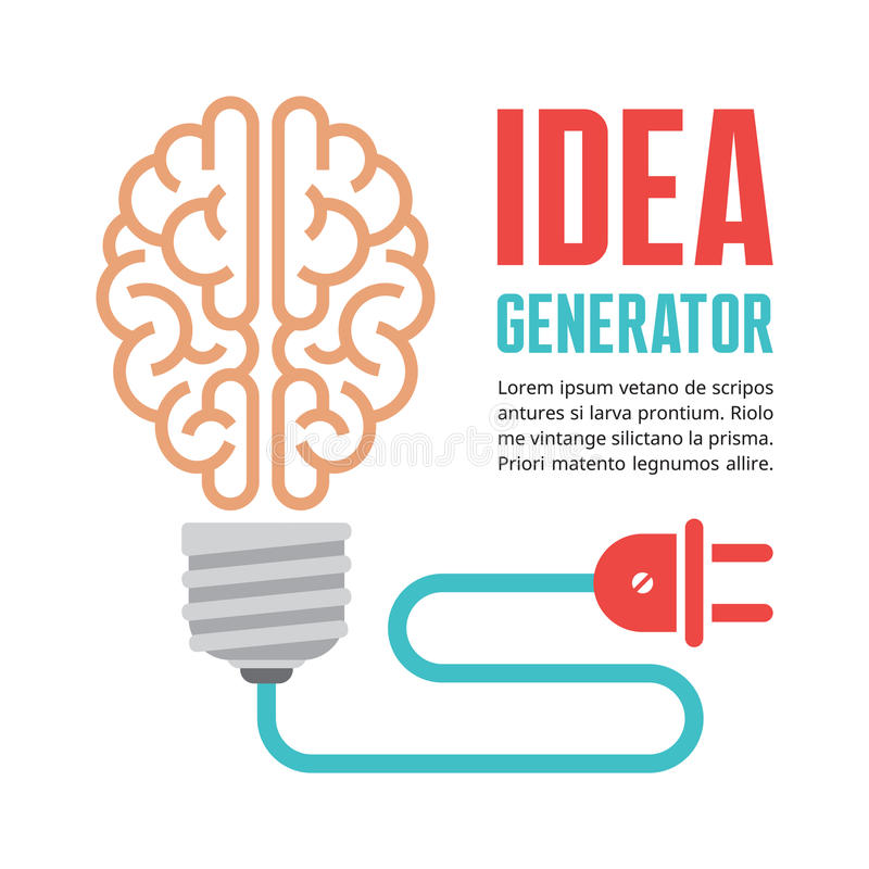 Mänsklig hjärna i vektorillustration för ljus kula Idégenerator - idérikt infographic begrepp stock illustrationer