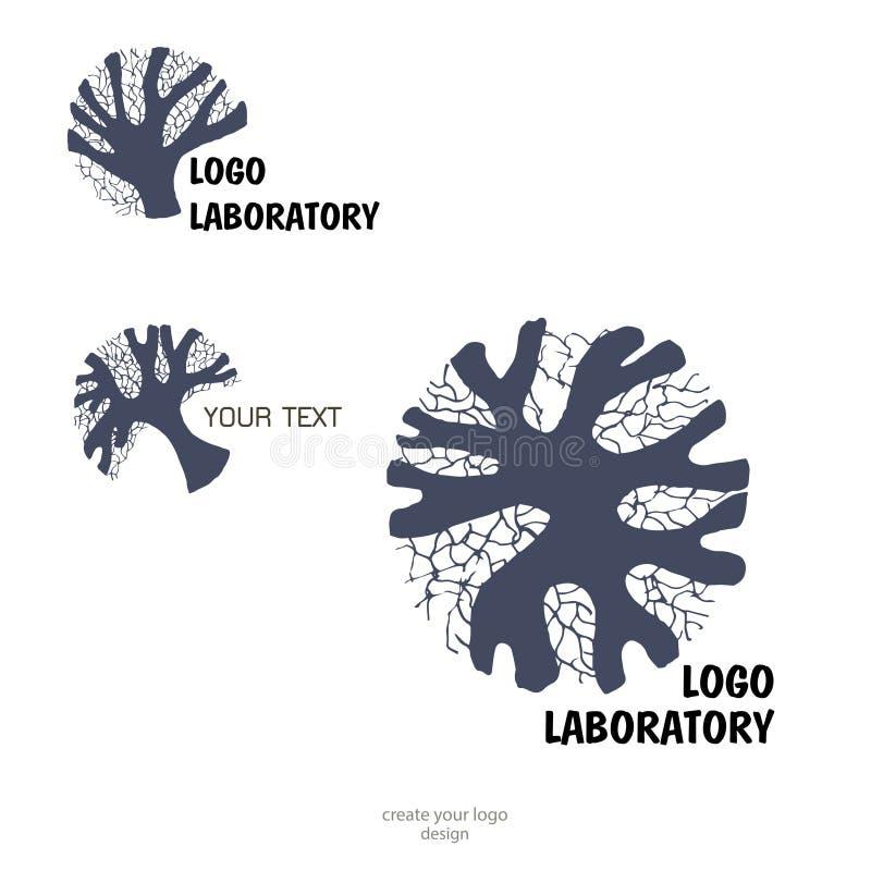 Mänsklig hjärna - illustration för begrepp för vektorlogomall Neuro labaratory geometriskt meningsstrukturtecken idérik idé vektor illustrationer