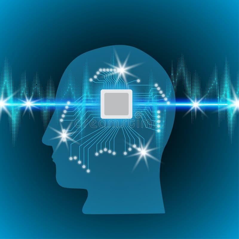 Mänsklig hjärna med en microcircuit i huvudet, begrepp av att arbeta med en pulsmusikband med glödande ljus, solida vågor stock illustrationer