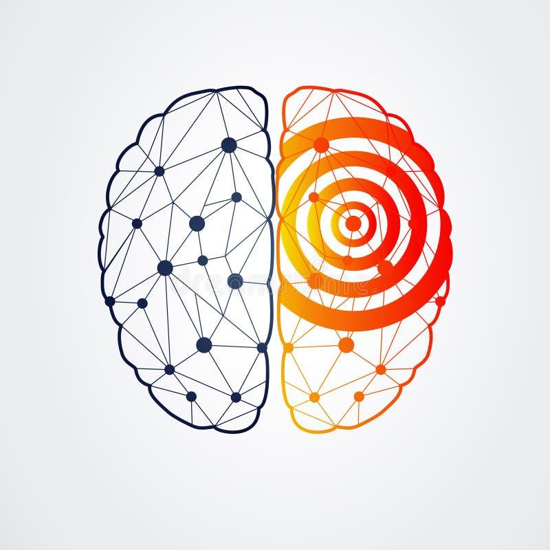Mänsklig hjärna med epilepsiaktivitet, vektorillustration vektor illustrationer
