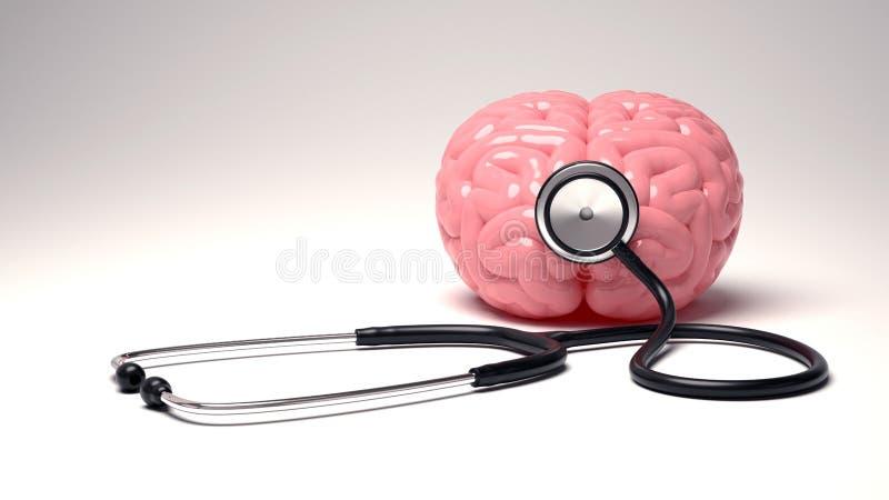 Mänsklig hjärna och stetoskop som isoleras på vit bakgrund fotografering för bildbyråer