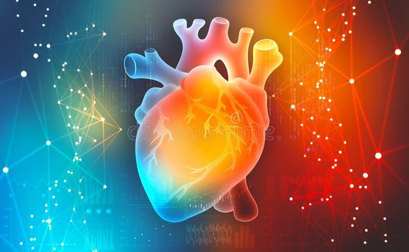 Mänsklig hjärta Digitala teknologier i medicin Innovationer i sjukvård royaltyfri illustrationer