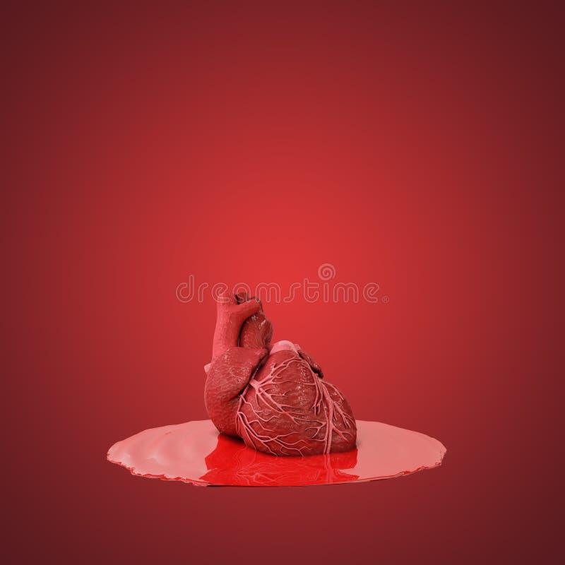 Mänsklig hjärta i blodpölen vektor illustrationer