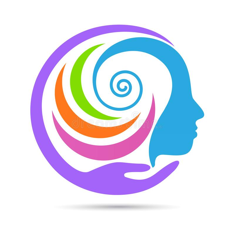 Mänsklig idérik meningsomsorglogo royaltyfri illustrationer