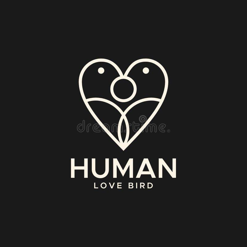 Mänsklig illustration för vektor för logo för monoline för förälskelsefågellogo royaltyfri illustrationer