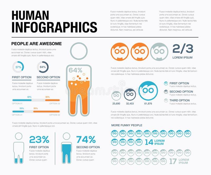 Mänsklig infographicsvektor Visa av vad folket har gjort! royaltyfri illustrationer