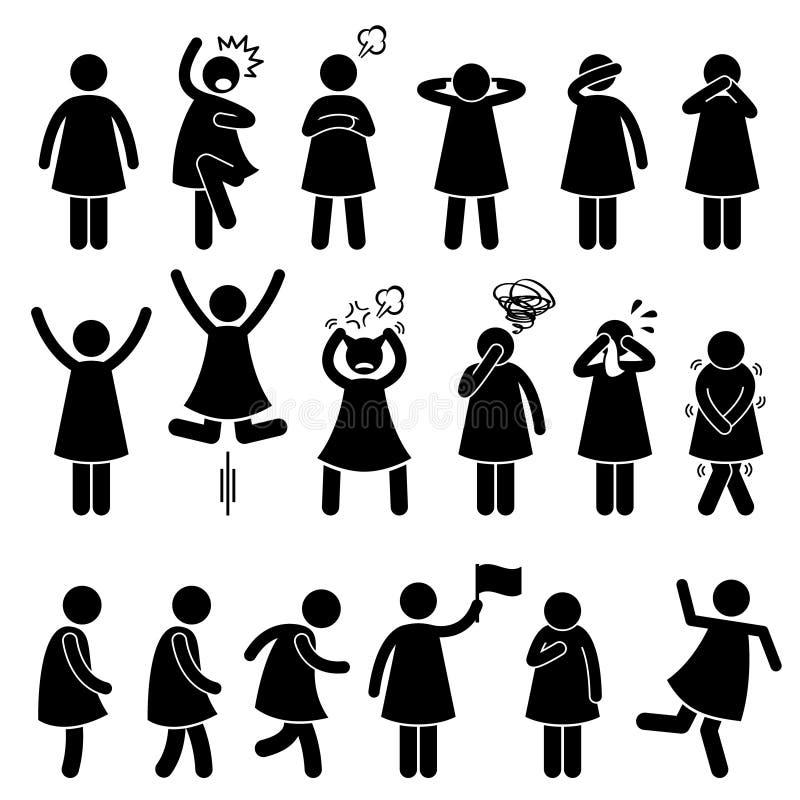 Mänsklig kvinnlig flickakvinnahandling poserar ställingssymboler royaltyfri illustrationer