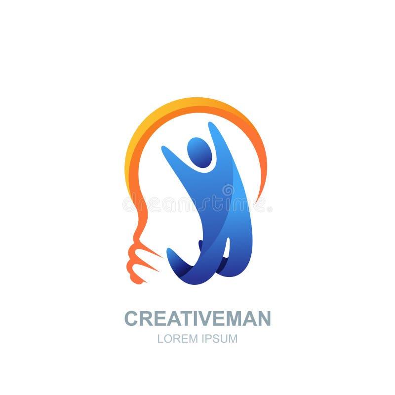 Mänsklig logo för vektor, symbolsdesign man för kulalampa Begrepp för affären, kreativitet, innovation, coachning, utbildning vektor illustrationer