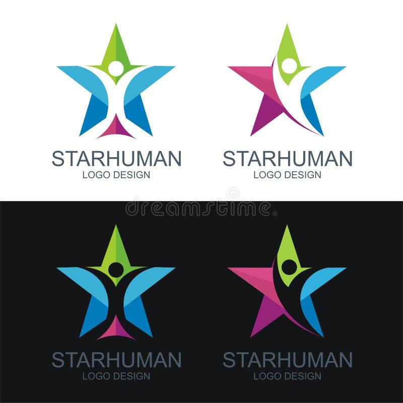 Mänsklig logo, med stjärnadesignen royaltyfri illustrationer