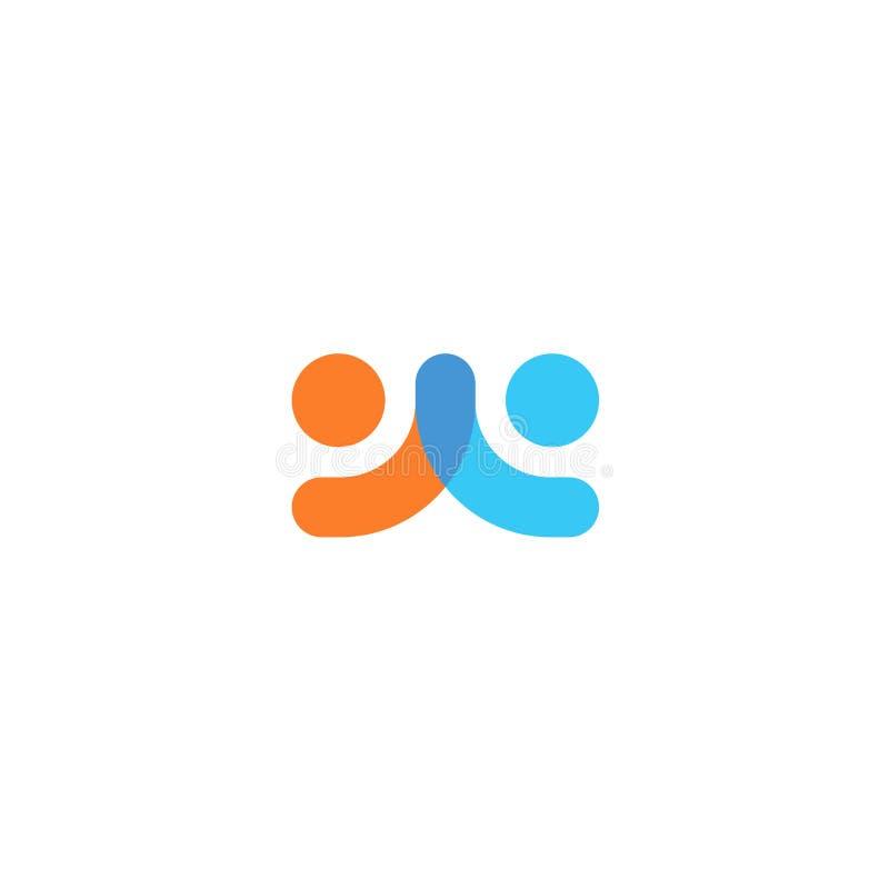 Mänsklig logo, symbol för ömsesidigt hjälpmedel, för folk abstrakt logotyp tillsammans Folket stöttar och hoppas symbol Partnersk royaltyfri illustrationer
