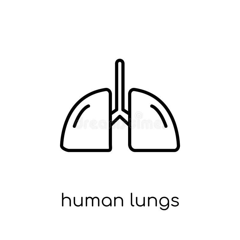 Mänsklig lungasymbol Mänskliga lungor I för moderiktig modern plan linjär vektor royaltyfri illustrationer