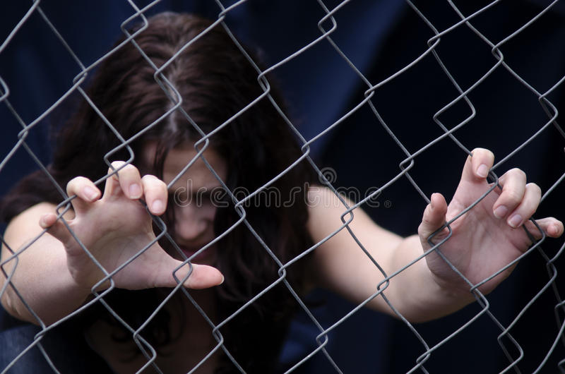 Mänsklig människohandel - begreppsfoto arkivfoto