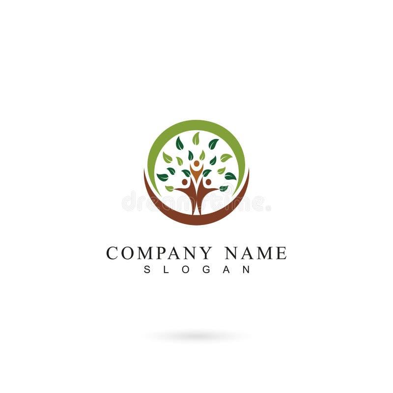Mänsklig mall för trädfolklogo med cirkeln, mall för design för familjlogosymbol royaltyfri illustrationer