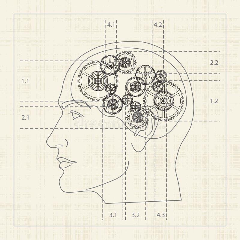 mänsklig mening för kugghjul royaltyfri illustrationer