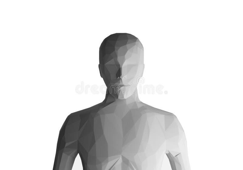 Mänsklig modell på vit bakgrund, konstgjord intelligens, 3d vektor illustrationer