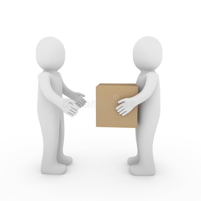 mänsklig packe för ask som 3d sänder två royaltyfri illustrationer