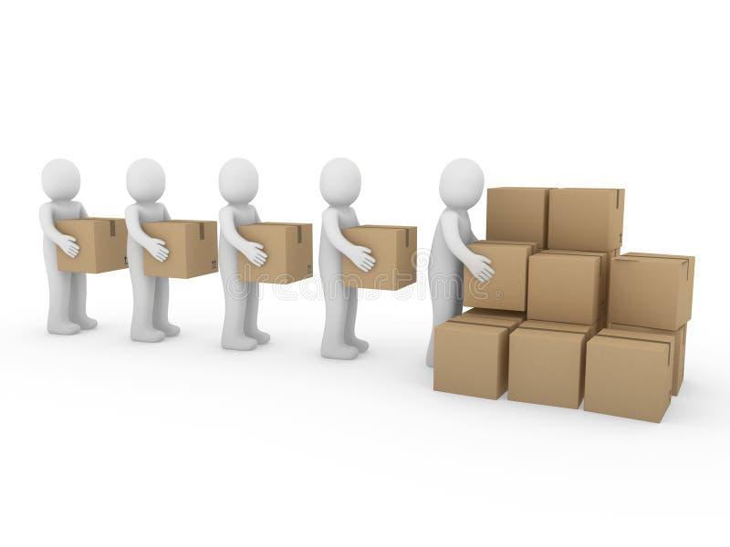 mänsklig packesändnings för låda 3d stock illustrationer