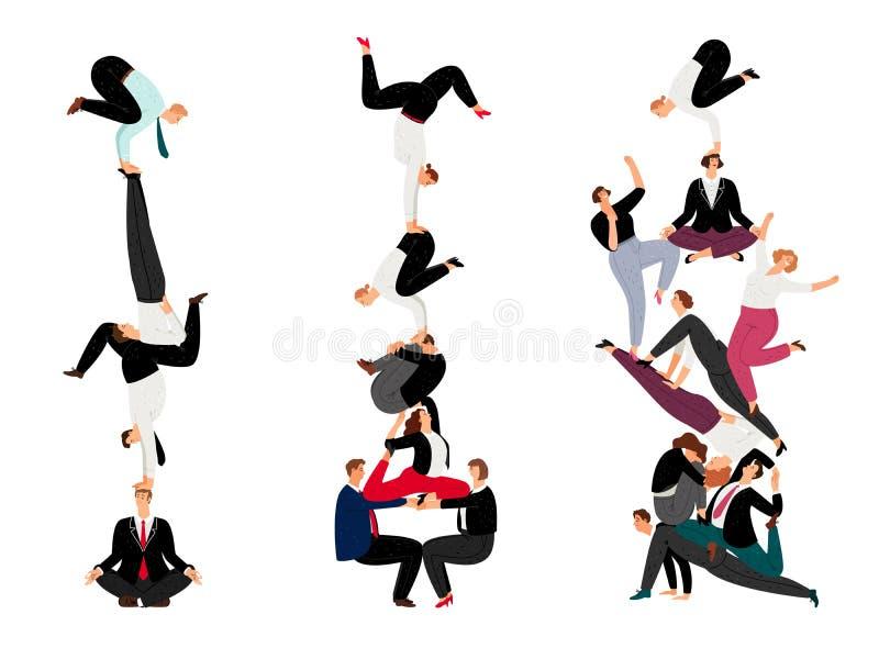 Mänsklig pyramid för affär Begrepp för lagarbetsframgång med miniatyrfolk, idérik lyckad företags folkmassa, vektor royaltyfri illustrationer