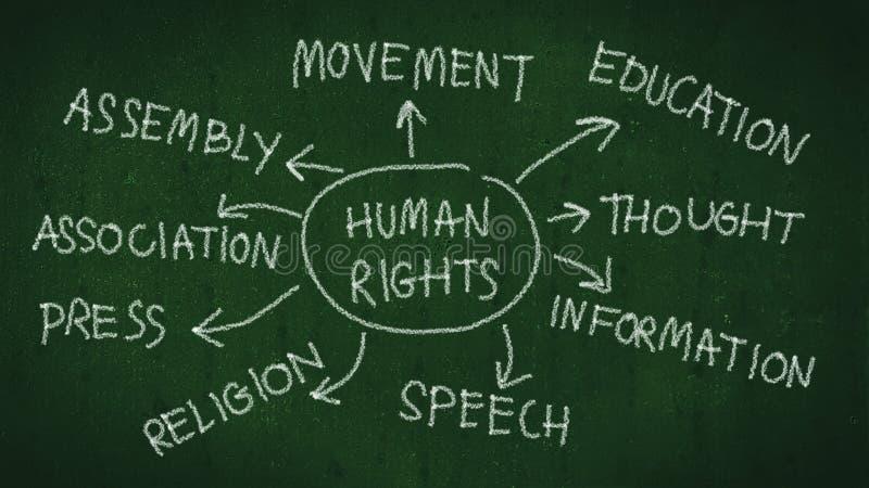 Mänsklig rättighetbegrepp mänsklig rättighetmeningsöversikt med handhandstil vid krita på svart tavla stock illustrationer