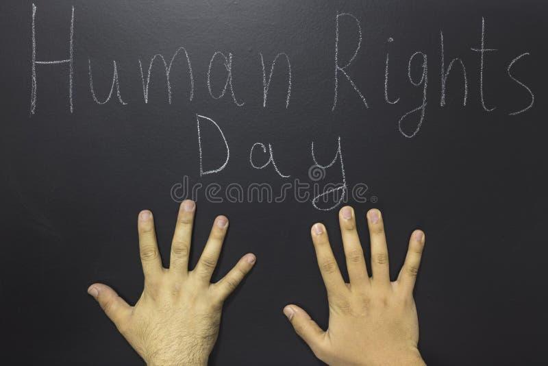 Mänsklig rättighetbegrepp: Texten: Skriftlig mänsklig rättighetdag på svart tavla royaltyfria foton