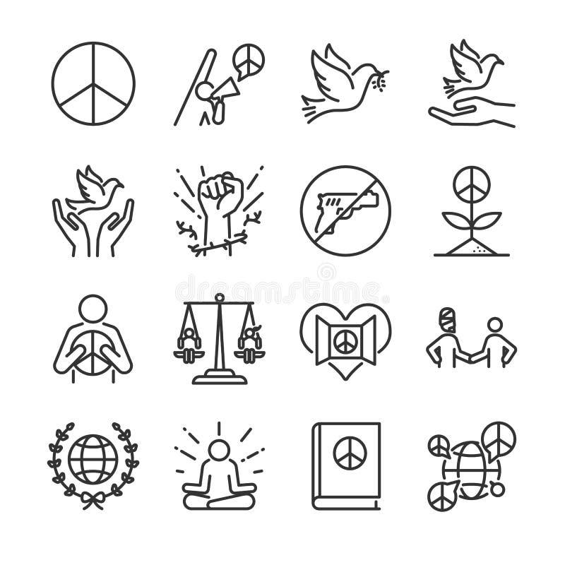 Mänsklig rättighetlinje symbolsuppsättning Inklusive symbolerna som moralen, fred, aktivism, duva, frihet, öppen mening, globalt  royaltyfri illustrationer